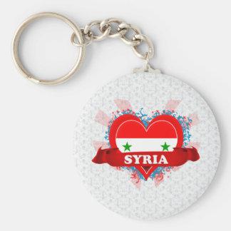 Vintage älskar jag Syrien Rund Nyckelring