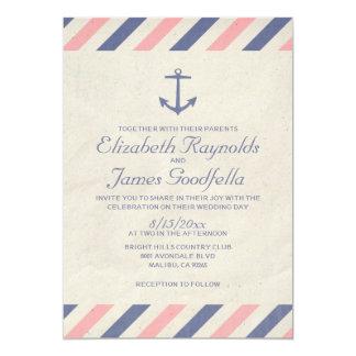 Vintage ankrar bröllopinbjudningar 12,7 x 17,8 cm inbjudningskort