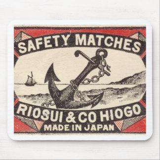 Vintage ankrar tändsticksasklogotypen musmatta