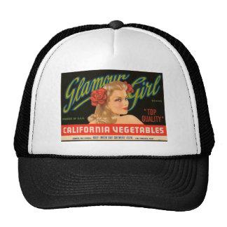 Vintage annons för glamourflickaKalifornien grönsa Keps