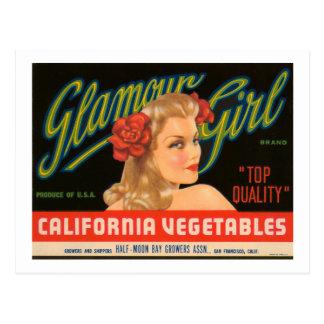Vintage annons för glamourflickaKalifornien Vykort