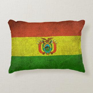 Vintage bedrövad flagga av Bolivia Prydnadskudde