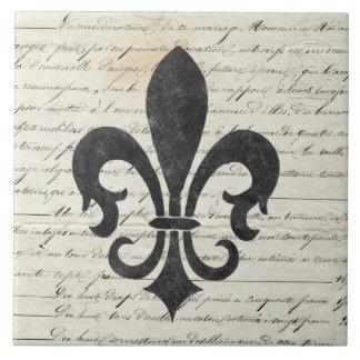 Vintage betonar fransk Ephemera Fleur De Lis Stor Kakelplatta