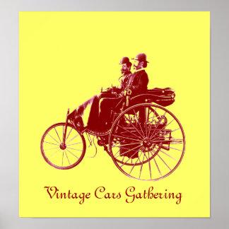Vintage bilar som samlar, gultbrunt
