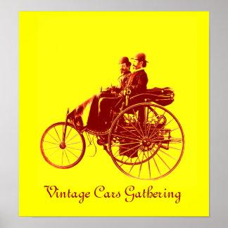 Vintage bilar som samlar, gultbrunt poster