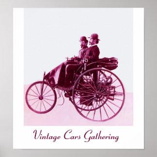 Vintage bilar som samlar, purpurfärgad rosa vit