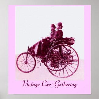 Vintage bilar som samlar, purpurfärgad rosa vit poster