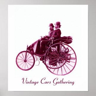 Vintage bilar som samlar, purpurfärgad violett vit affisch