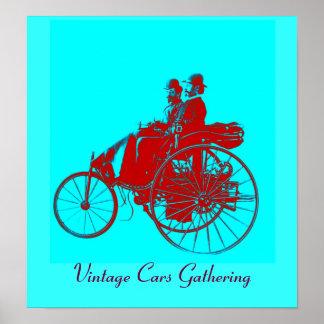 Vintage bilar som samlar, röd blåtturquase affisch