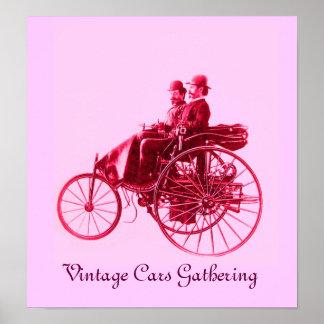 Vintage bilar som samlar, rosa fuchsia röd violet print