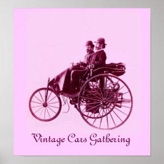 Vintage bilar som samlar, rosa violetta lilor