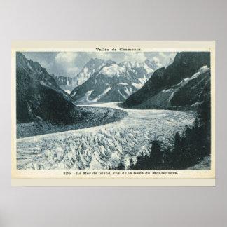 Vintage bild frankrike, Chamonix, Mont Blanc Poster