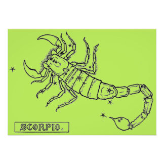 Vintage bild - Zodiac - Scorpio Poster