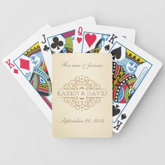 Vintage bläddrar bröllopparets anpassningsbar spelkort