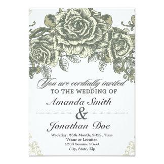 Vintage blommar bröllopinbjudan 12,7 x 17,8 cm inbjudningskort