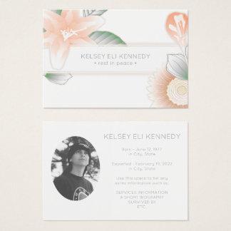 vintage blommar elegant begravning visitkort