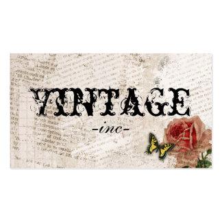 Vintage blommar över bekymrad text set av standard visitkort