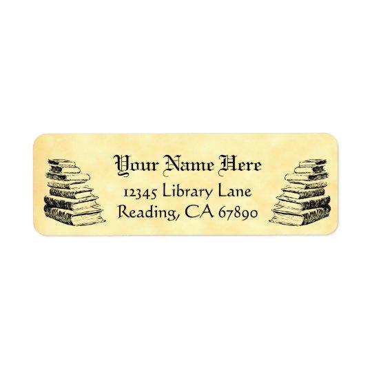 Vintage bokar beställnings- returadress etikett