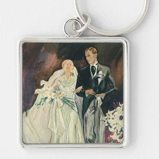 Vintage bröllop, brud och Goom, nygift person Nyckelring