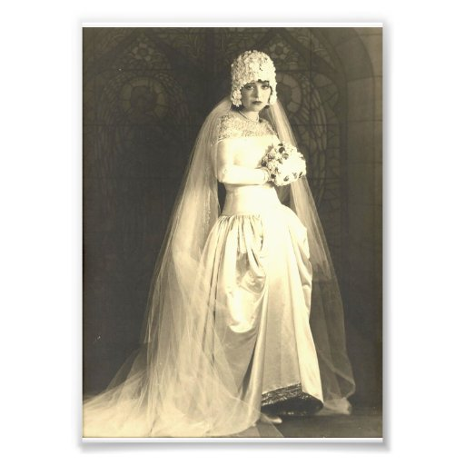 Vintage bröllop brudfototrycket