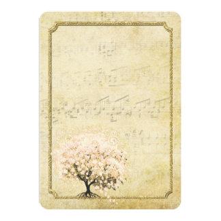 Vintage bröllop för träd för hjärtalöv rosa guld- tillkännagivanden