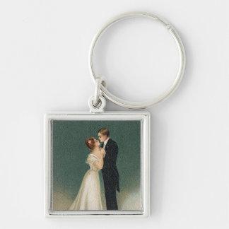Vintage bröllop fyrkantig silverfärgad nyckelring