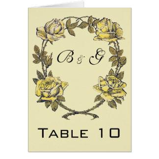 Vintage bröllop gul antikvitetträdgårdrosenkrans OBS kort