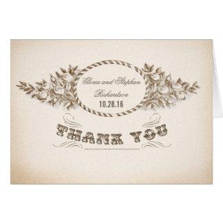 vintage bröllop tackar dig kort