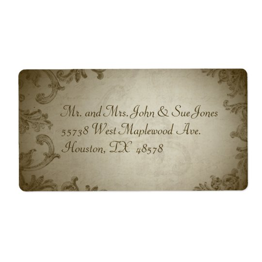 Vintage bröllopadressetikett fraktsedel