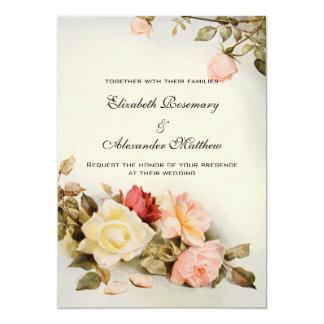 Vintage bröllopantikvitetträdgården steg blom- 12,7 x 17,8 cm inbjudningskort