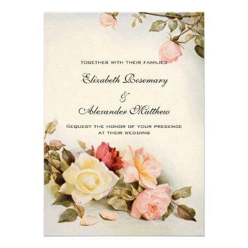 Vintage bröllopantikvitetträdgården steg blom- blo personliga inbjudningskort