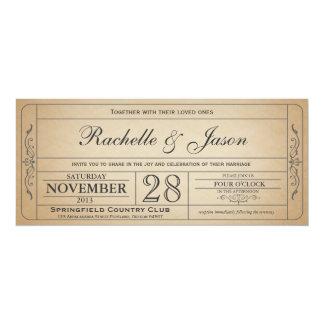 Vintage bröllopbiljettinbjudan 10,2 x 23,5 cm inbjudningskort