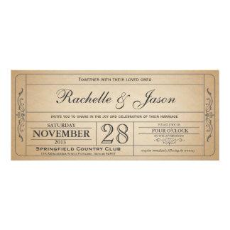 Vintage bröllopbiljettinbjudan