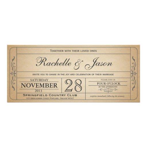 Vintage bröllopbiljettinbjudan personliga tillkännagivande