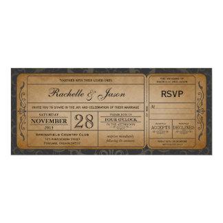 Vintage bröllopbiljettinbjudan med OSA 3,0 10,2 X 23,5 Cm Inbjudningskort