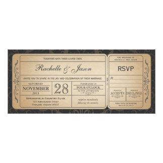 Vintage bröllopbiljettinbjudan med OSA 3,0 Tillkännagivande