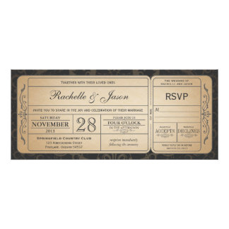 Vintage bröllopbiljettinbjudan med OSA 3 0