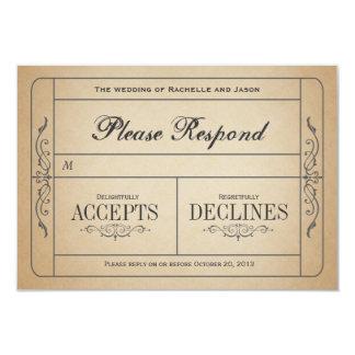Vintage bröllopbiljettOSA 8,9 X 12,7 Cm Inbjudningskort