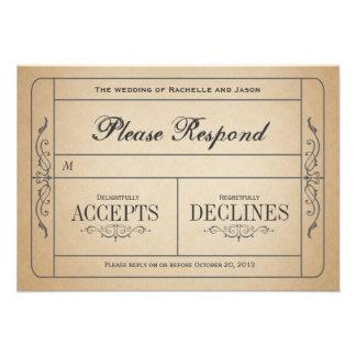 Vintage bröllopbiljettOSA Tillkännagivanden