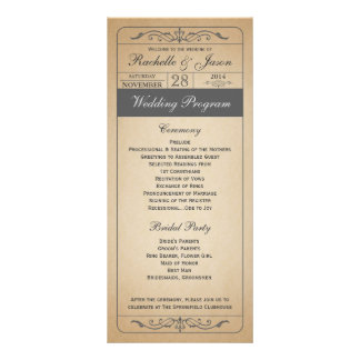Vintage bröllopbiljettprogram reklamkort