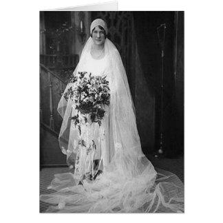 Vintage bröllopbrud hälsningskort