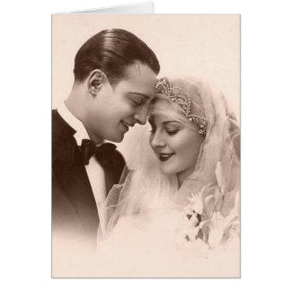 Vintage bröllopbrud och brudgum hälsningskort