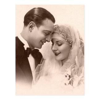 Vintage bröllopbrud och brudgum vykort