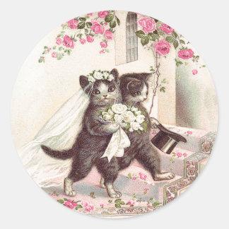 Vintage bröllopkattbrud och brudgum runt klistermärke