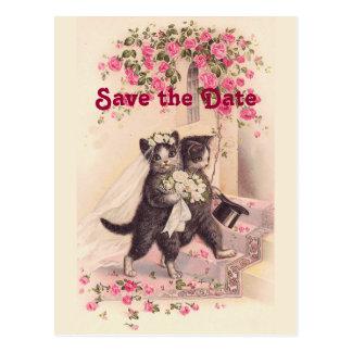 Vintage bröllopkatter sparar dateravykortet vykort