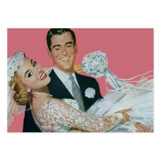 Vintage bröllopnygift person, bärande brud för set av breda visitkort