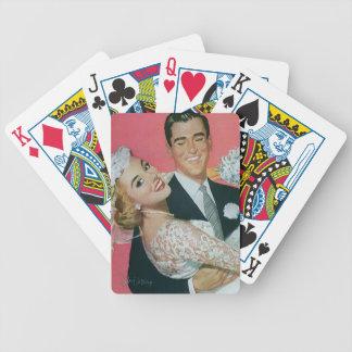 Vintage bröllopnygift person, bärande brud för spelkort