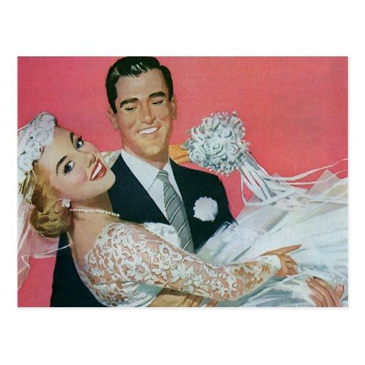Vintage bröllopspara datera! lyckliga nygift perso vykort