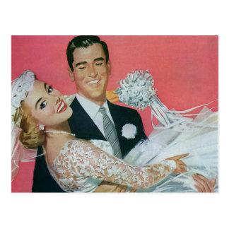 Vintage bröllopspara datera! Lyckliga nygift Vykort