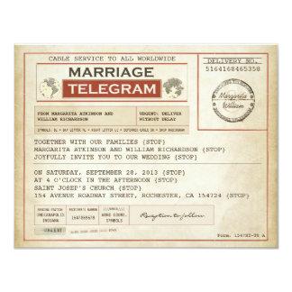 vintage brölloptelegrams 10,8 x 14 cm inbjudningskort
